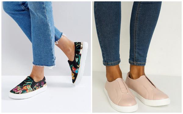 самая модная обувь лето 2018 - слипоны с принтом и бежевые