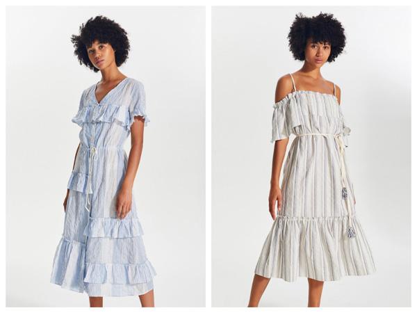 самые модные платья на лето 2018 - платеь с воланом в полоску