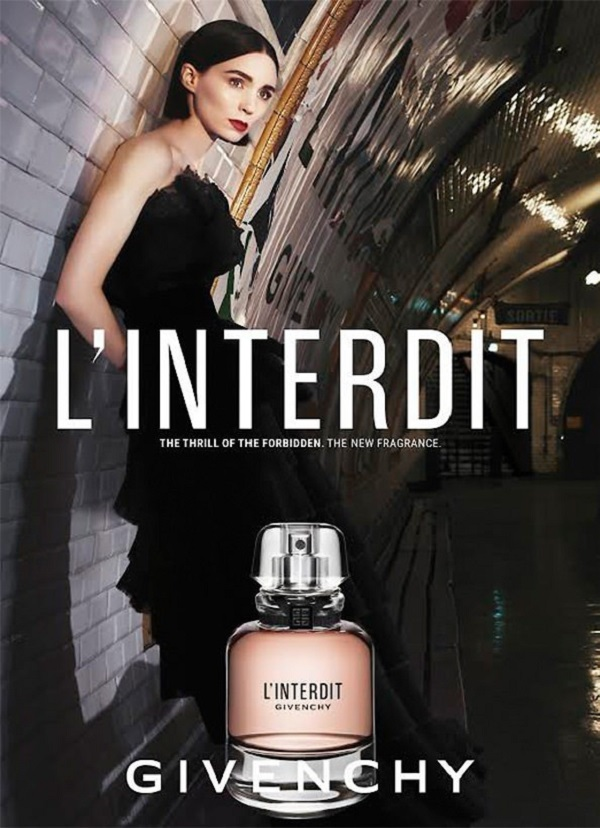 реклама парфюмерной воды l'interdit givenchy с актрисой руни мара