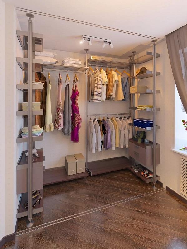 маленькая гардеробная в квартире, угловая ии прямоугольная