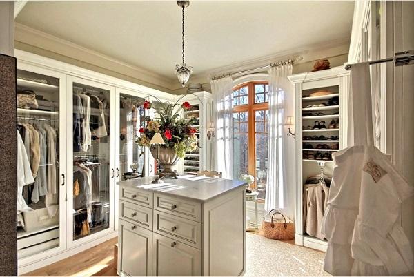 гардеробная комната в частном доме, планировка и дизайн