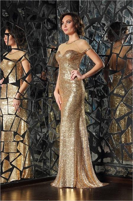 золотистое платье на новый год желтой земляной свиньи