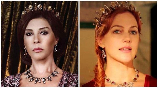 платья, наряды, украшения, драгоценности сериала великолепный век - одинаковая корона валиде и хюррем(34)