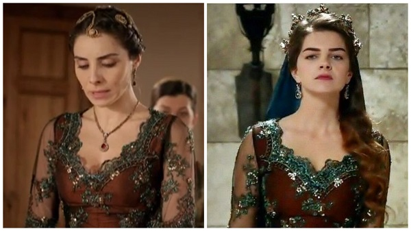 платья, наряды, украшения, драгоценности сериала великолепный век - одинаковое платье махидевран и михримах(39)