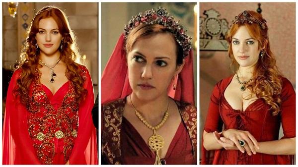 платья, наряды, украшения, драгоценности сериала великолепный век - хюррем в красном(9)