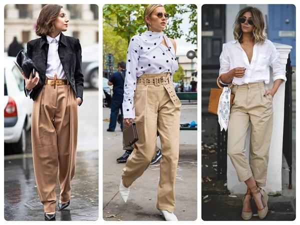 бежевые брюки - женская мода весна 2019
