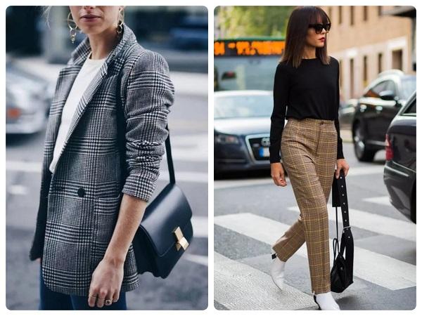 жакет и брюки в клетку - женская мода весна 2019