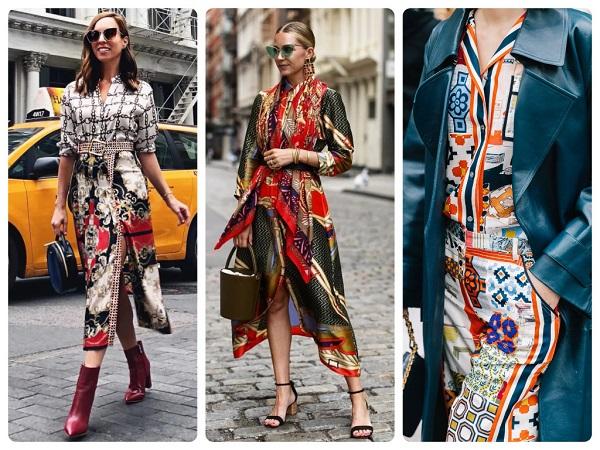 модное платье с платочным принтом - женская мода весна 2019