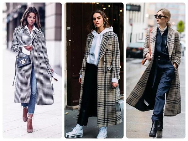 пальто в клетку - женская мода весна 2019
