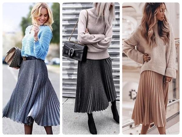 плиссированная юбка миди - женская мода весна 2019