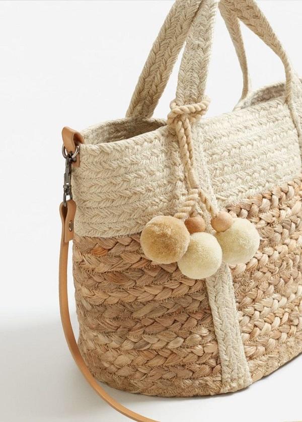 сумка из джута, соломенная сумка, с чем носить, фото образов для лета