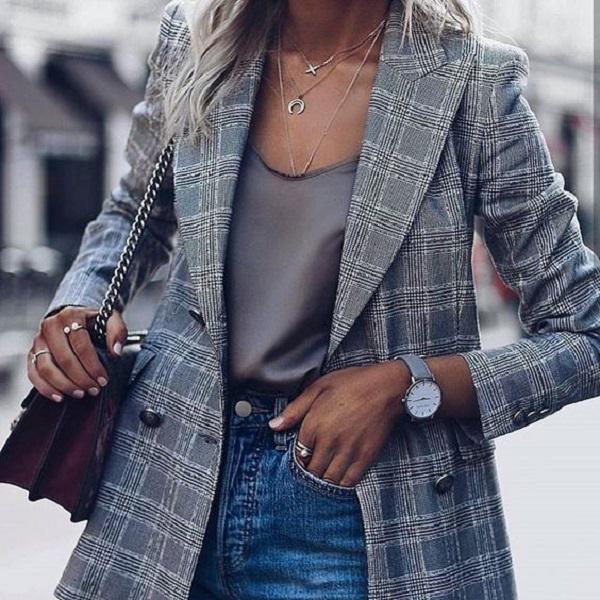 стильный женский жакет в клетку на осень 2019, как выбрать