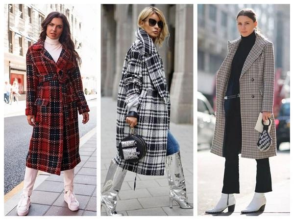 пальто в летку на осень - уличная мода стрит стайл, подборка модных образов, фото