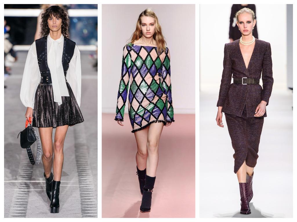модная женская обувь зима 2020 - ботильоны из кожи и замши