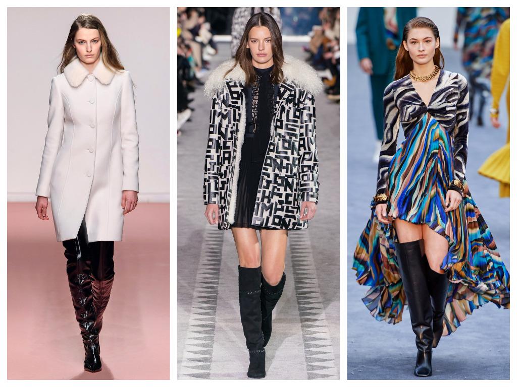 модная женская обувь зима 2020 - ботфорты с широким голенищем