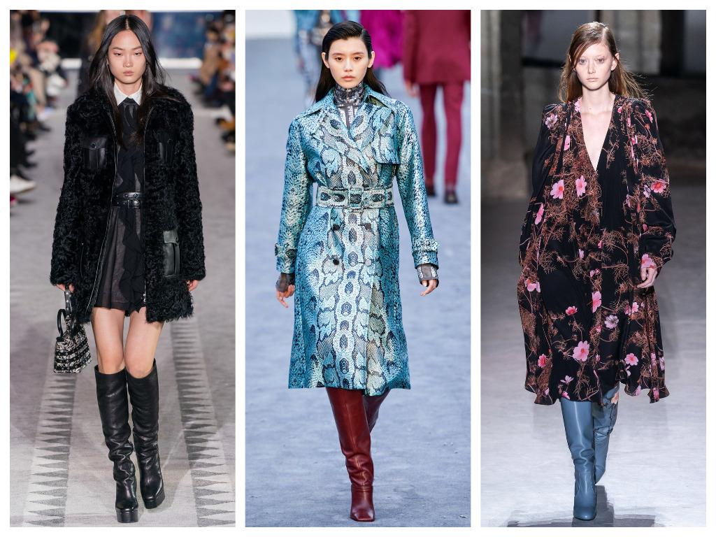 модная женская обувь зима 2020 - сапоги с широким голенищем, однотонные и со змеиным принтом
