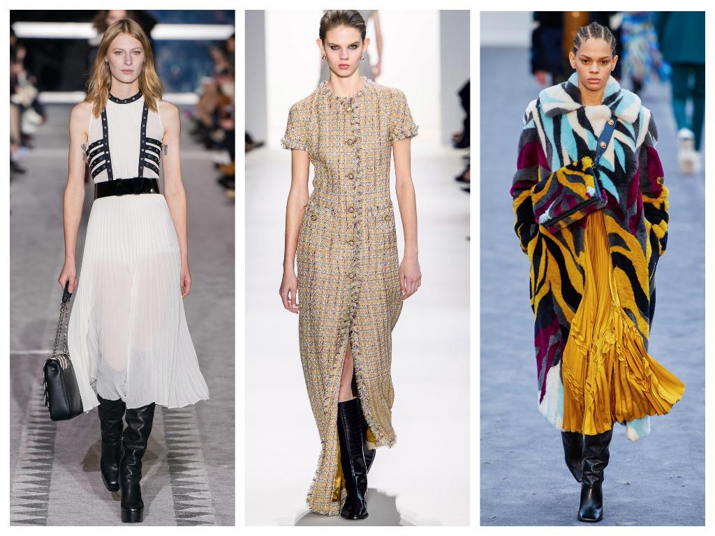 модная женская обувь зима 2020 - сапоги с широким голенищем