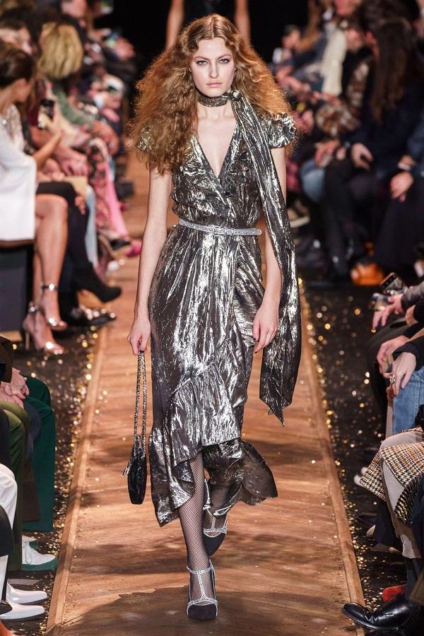 серебристое платье на новый год - дизайнер майкл корс