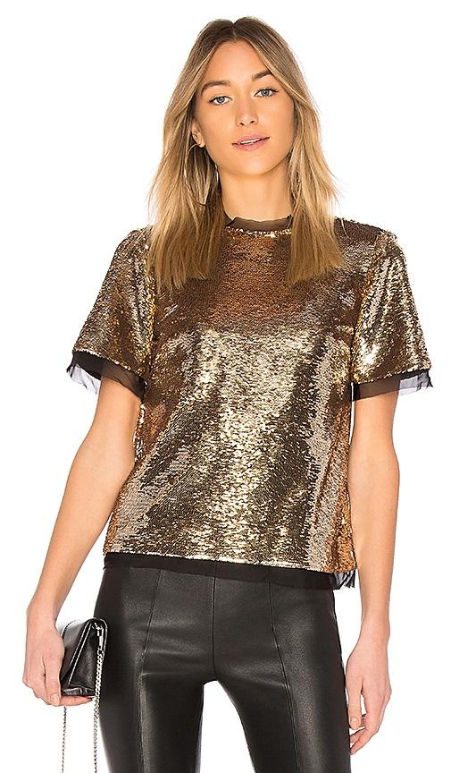 блуза с золотистыми пайетками и брюки на новгодний корпоратив 2020
