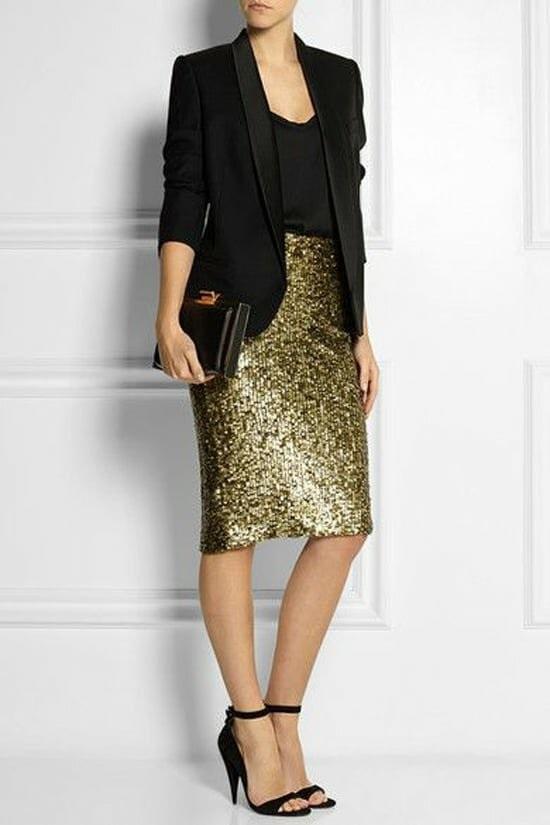 юбка с пайетками, блуза и пиджак на корпоратив на новый год 2020