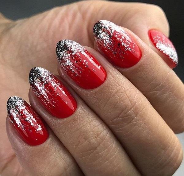 новогодний маникюр серебристый с красным