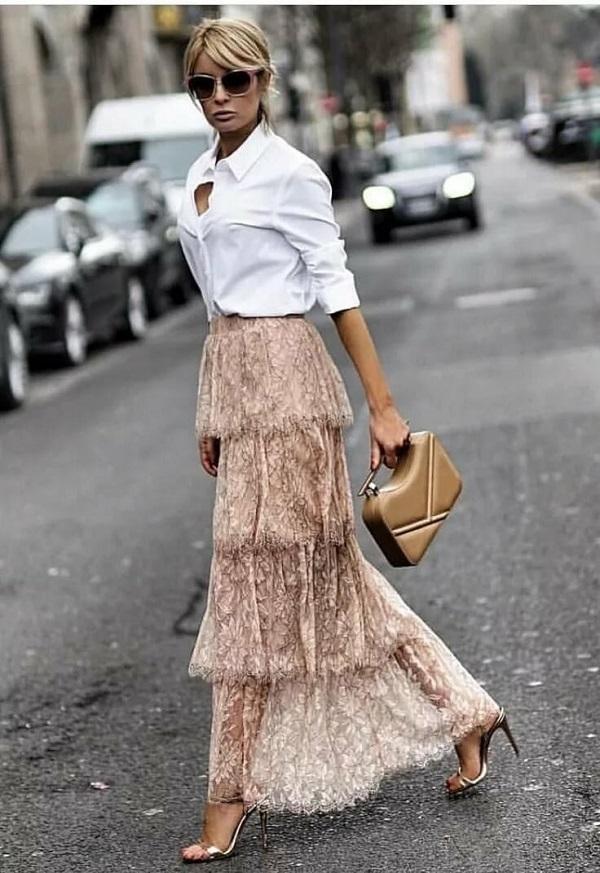 многоярусная юбка - модные тренды весна 2020