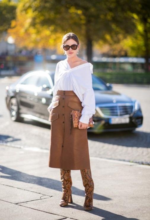 юбка из искусственной кожи - модные тенденции весны 2020