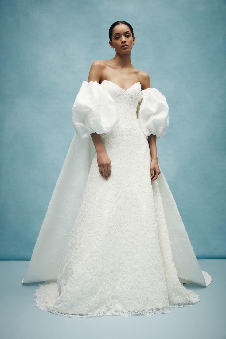 свадебное платье с объемными рукавами - свадебная мода весна 2020
