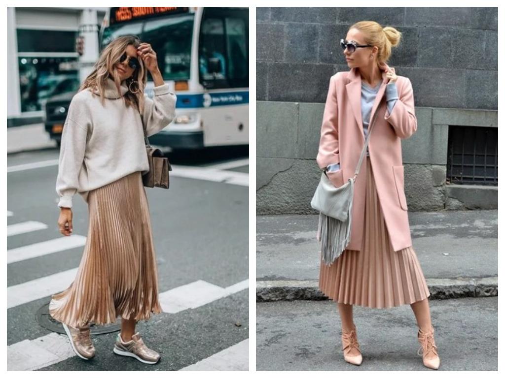 длинная плиссированная юбка пудрового цвета, пастельный тон