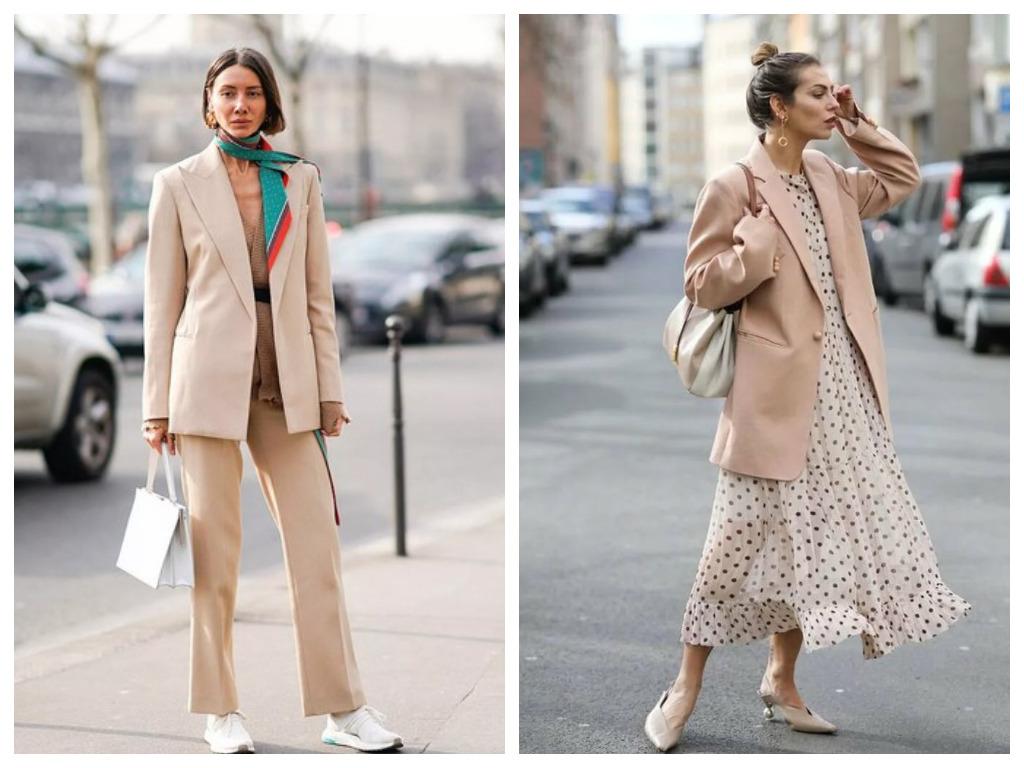 жакет пудрового цвета, мода 2020