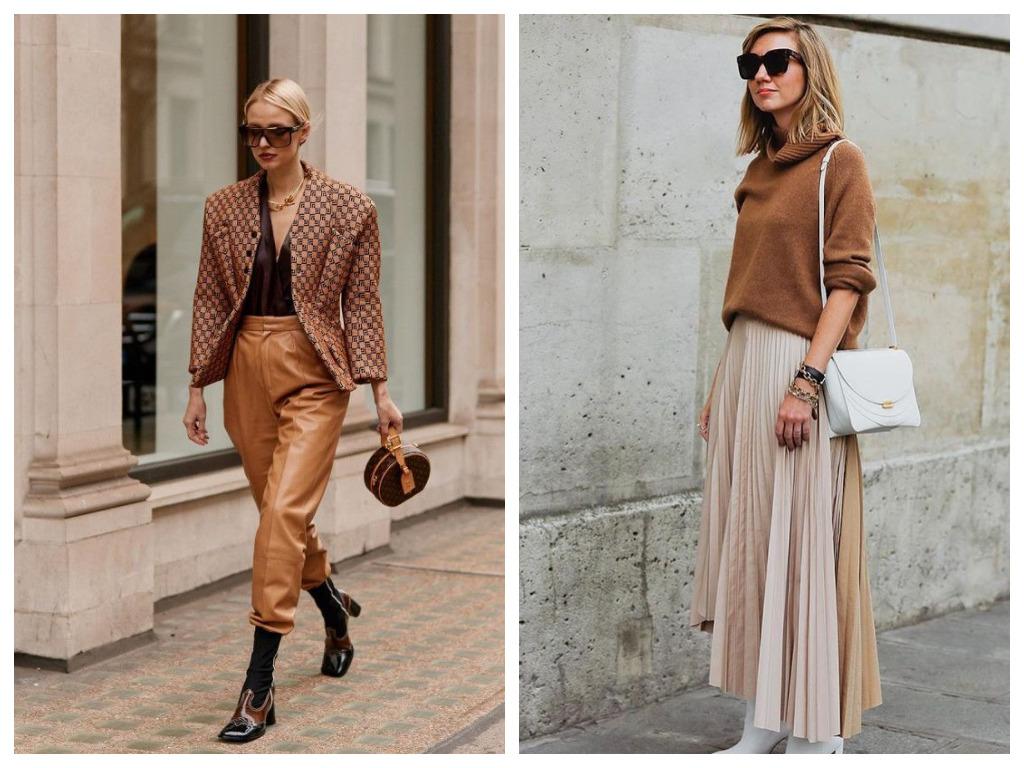 карамельные брюки, свитер карамельного оттенка
