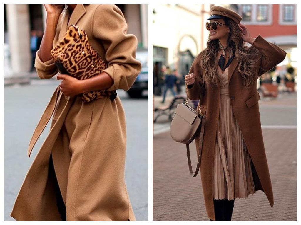 пальто и тренч карамельного цвета, мода 2020
