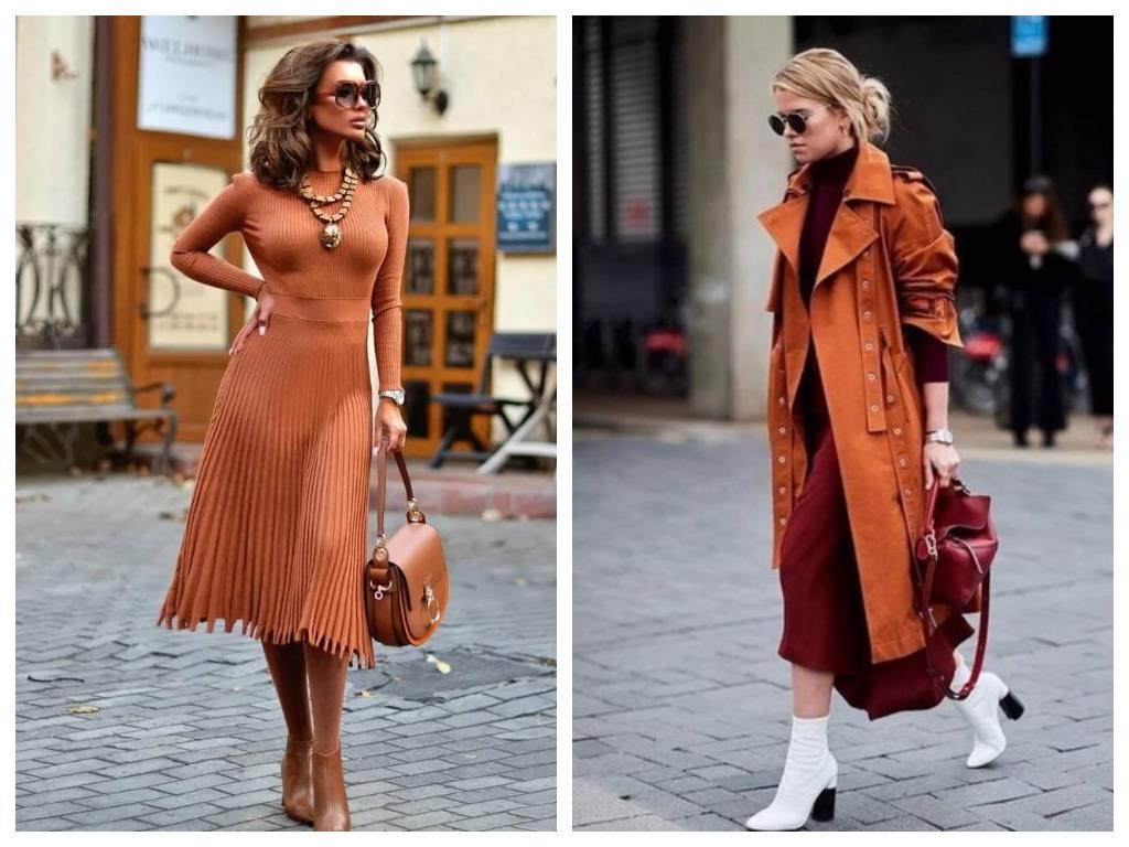 платье и тренч карамельного оттенка, мода и стиль 2020