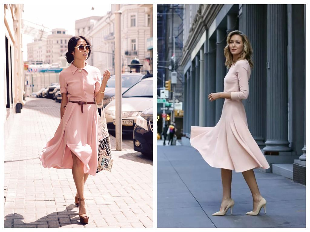 платье пудрового цвета, тренды 2020
