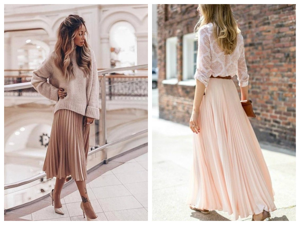 плиссированная юбка пудрового цвета, мода и стиль 2020, сезон весна лето (1)