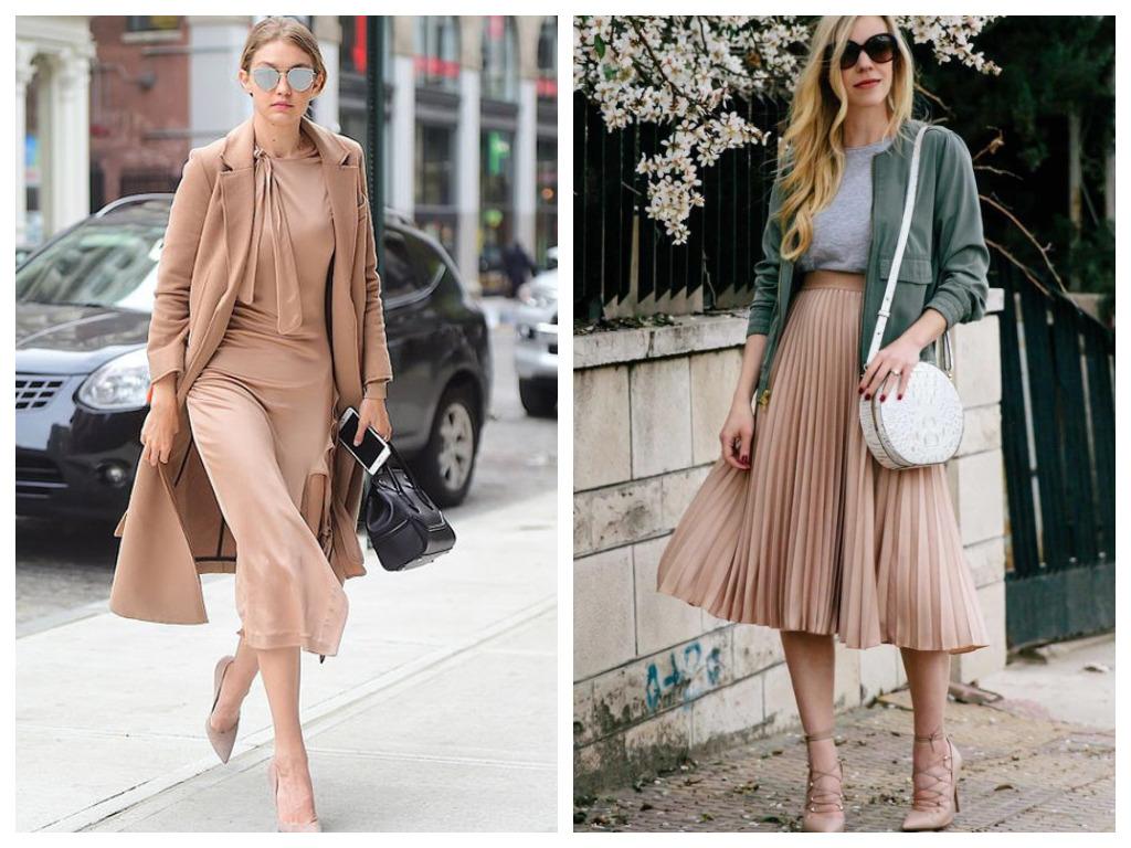 плиссированная юбка пудрового цвета, мода и стиль 2020, сезон весна лето (2)