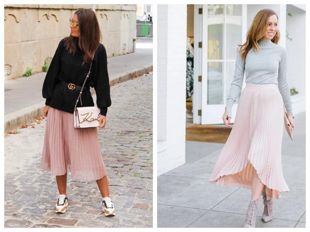 плиссированная юбка пудрового цвета, мода и стиль 2020, сезон весна лето (3)