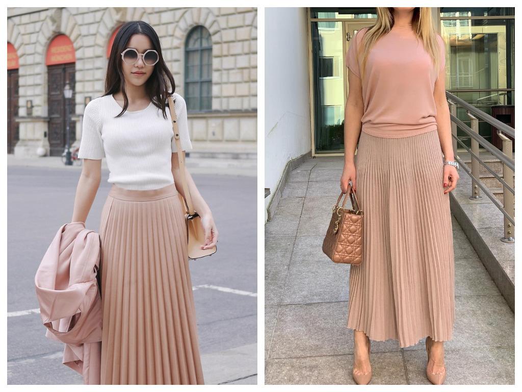 юбка макси пудрового цвета
