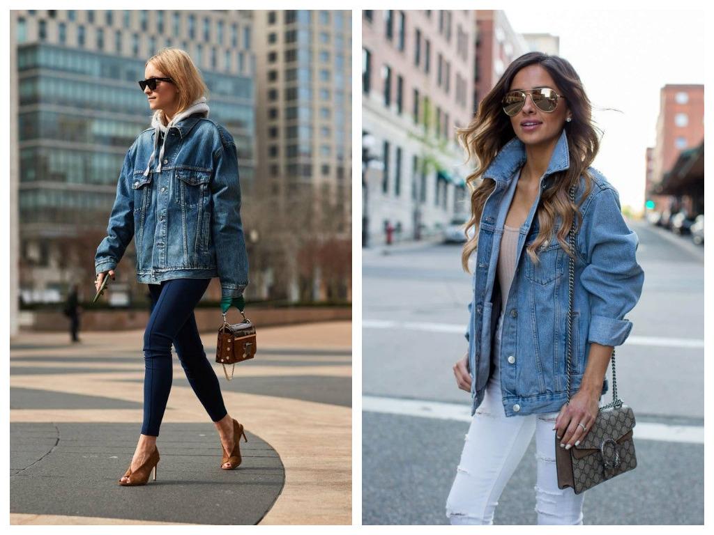 удлиненная джинсовая куртка, модные образы - сочетание с джинсами