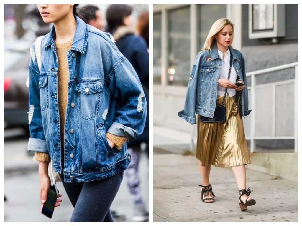 удлиненная джинсовая куртка, модные образы - сочетание с юбкой и джинсами