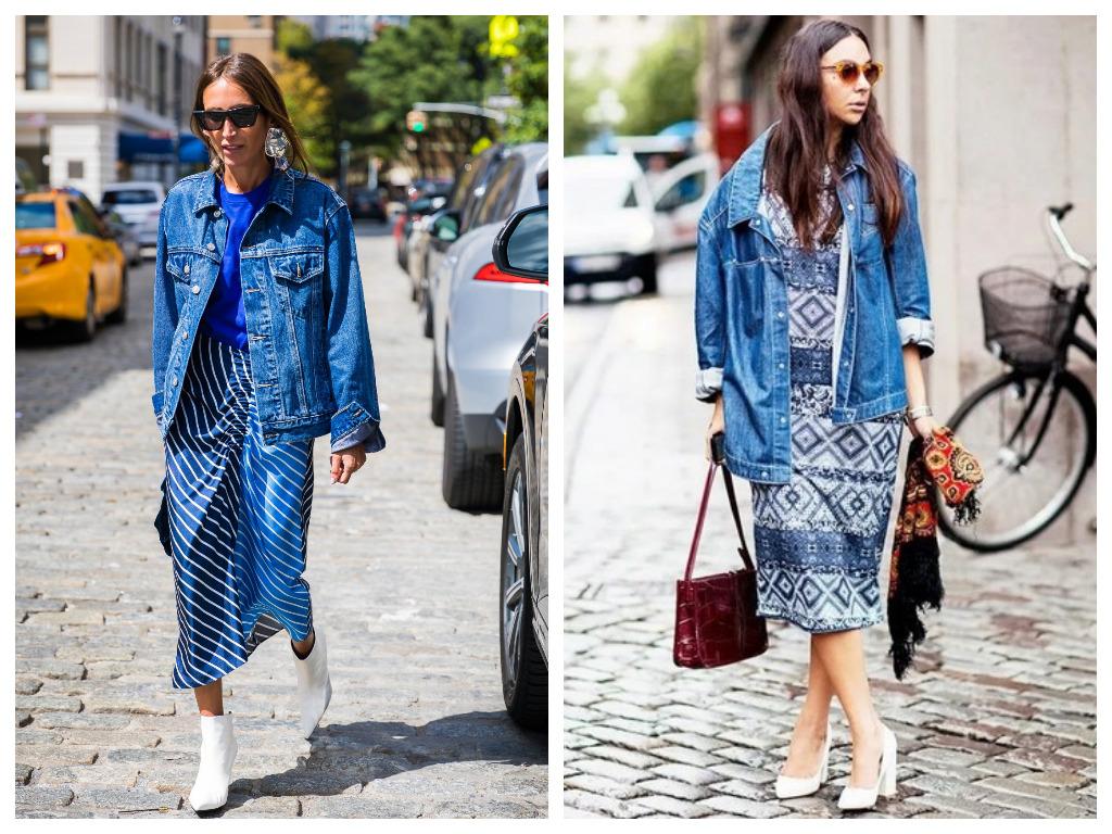 удлиненная джинсовая куртка, модные образы - сочетание с юбкой и платьем