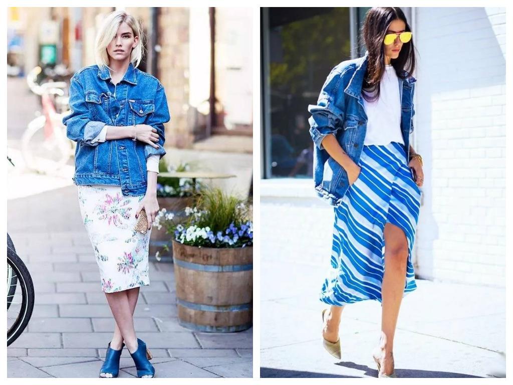 удлиненная джинсовая куртка, модные образы - сочетание с юбкой миди