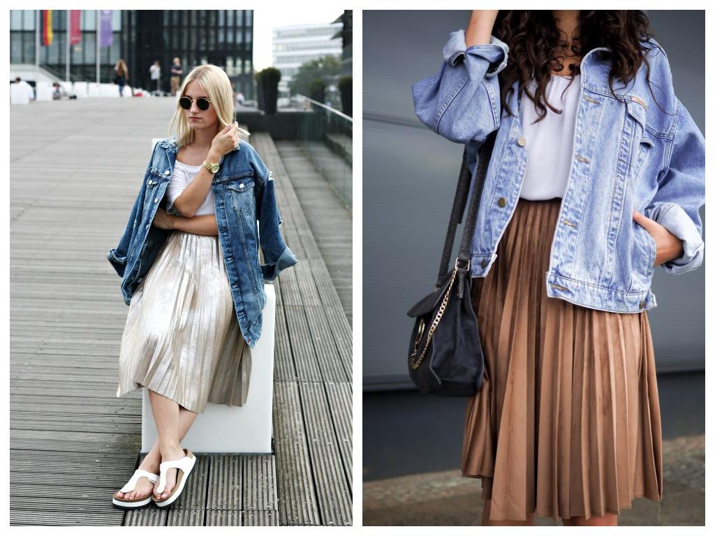 удлиненная джинсовая куртка, модные образы - сочетание с юбкой плиссе