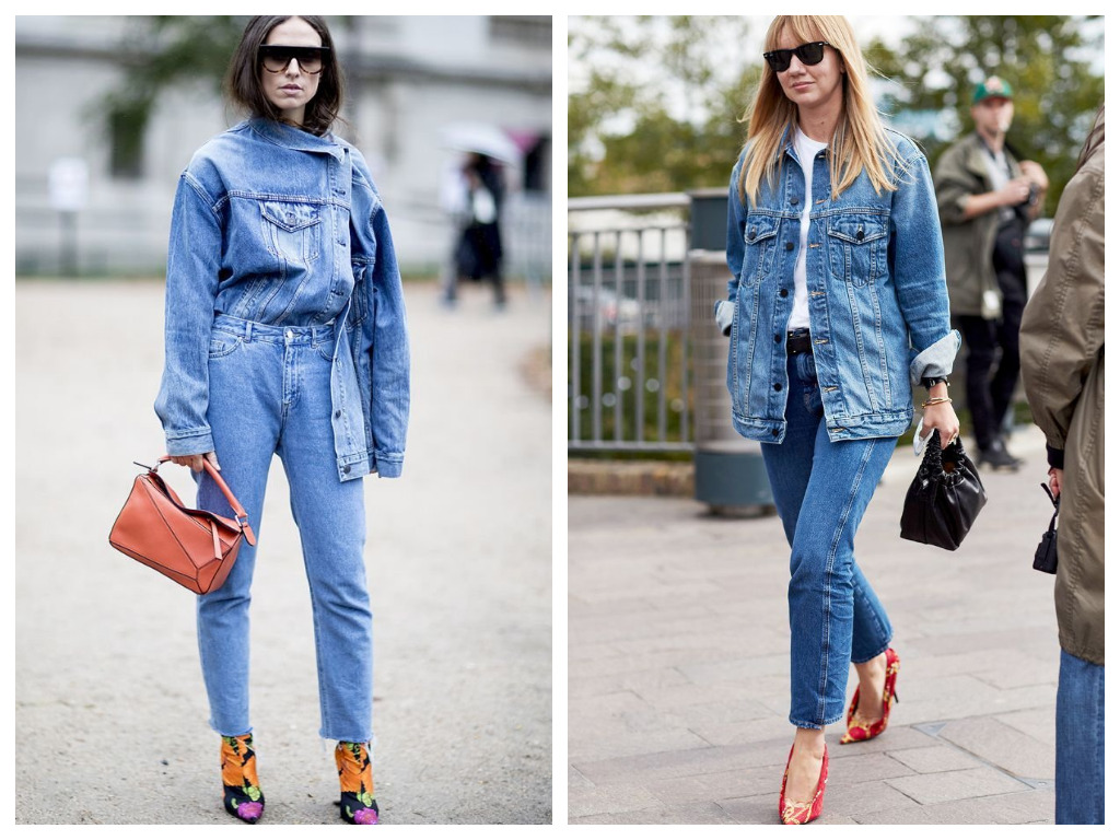 удлиненная джинсовая куртка, модные образы - сочетание тотал деним
