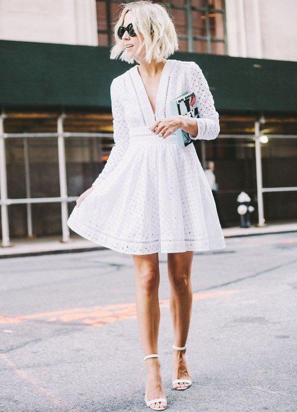 изящное белое платье мини