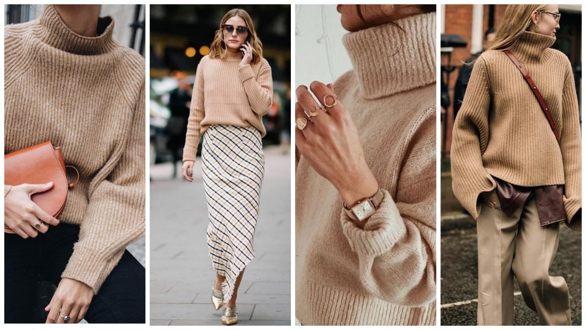 джемпер песочного цвета, мода осени 2020, тренды осени