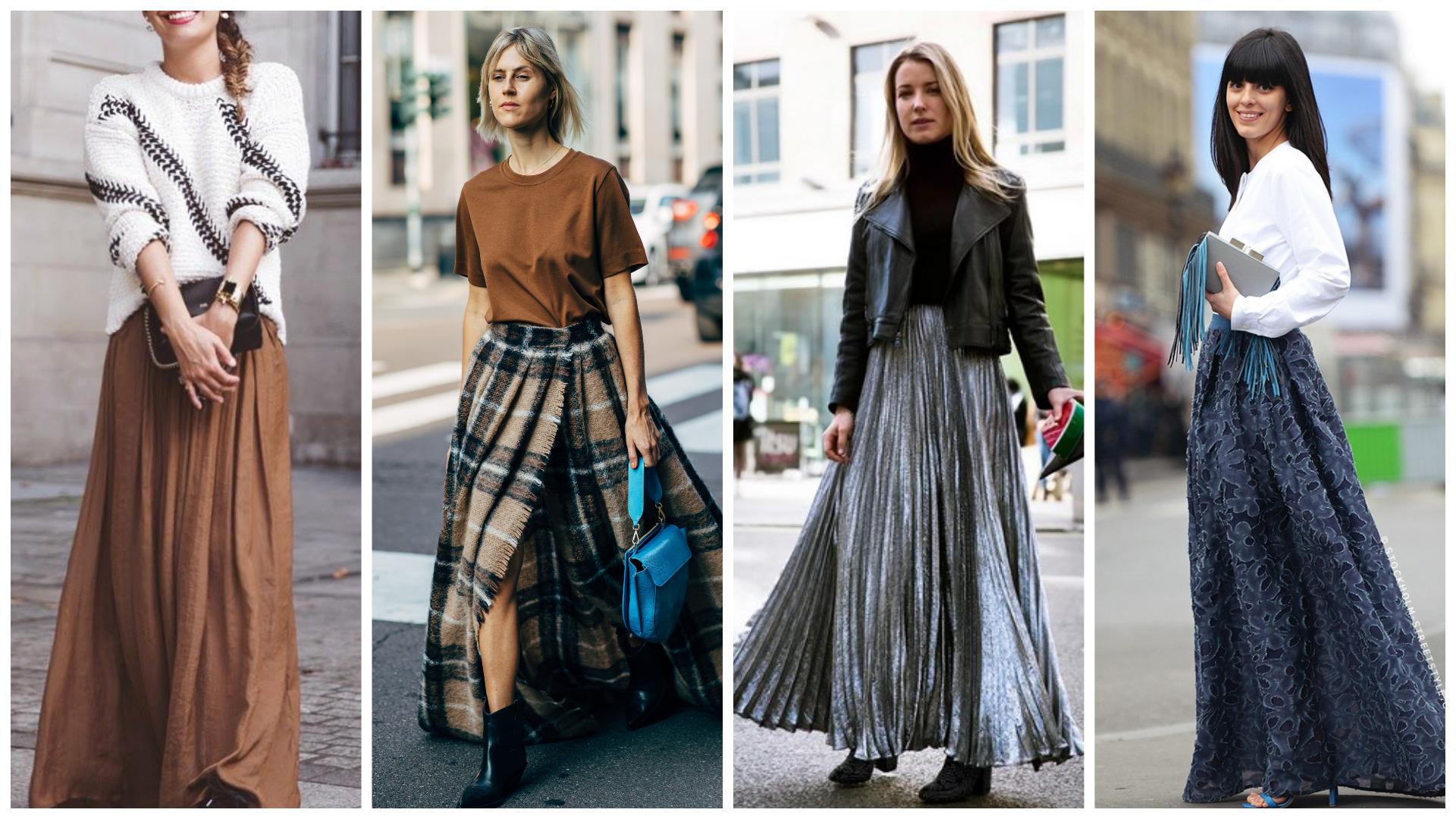 макси юбка осень 2020, модный женский гардероб