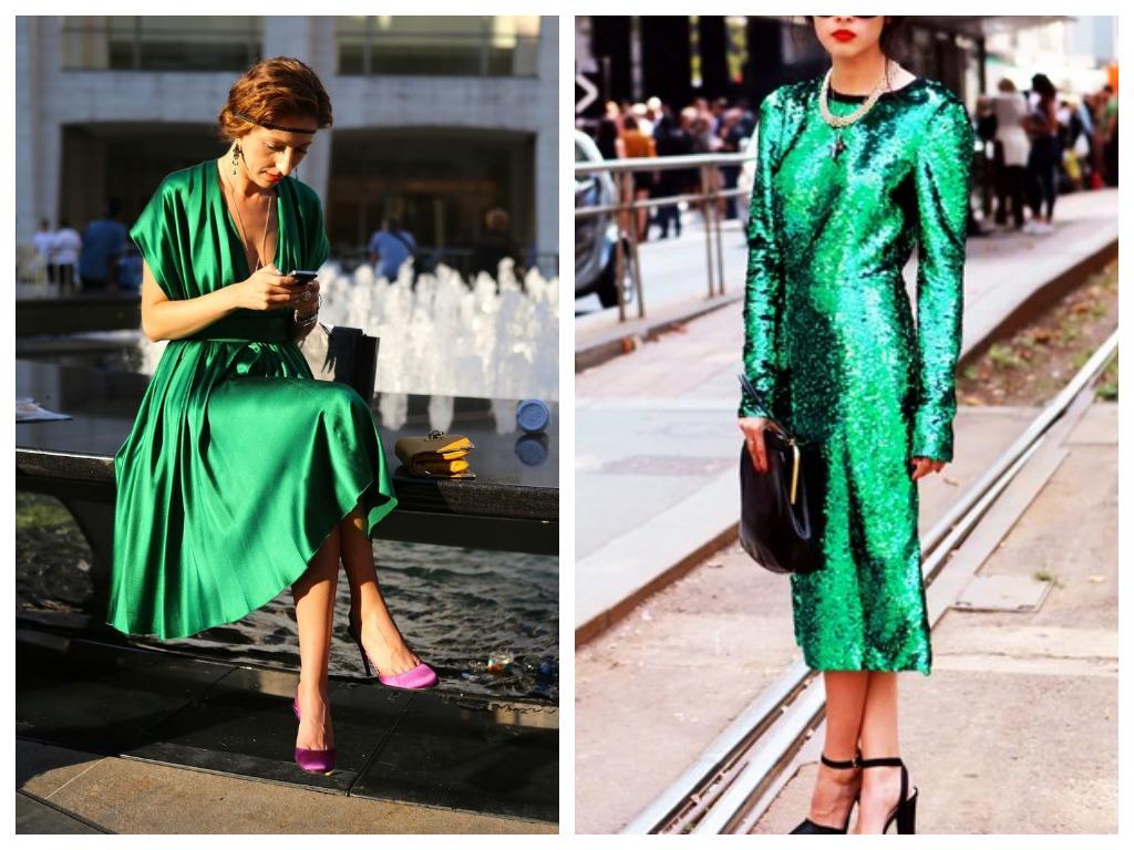 Платье на Новый год 2021 - выбираем наряд зеленого цвета из шелка или пайеток