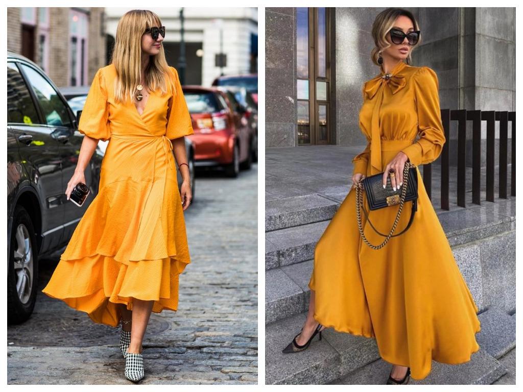 Платье на Новый год 2021 - выбираем платье желтого оттенка и цвета