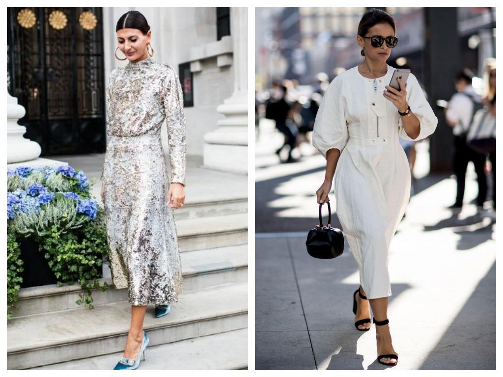 Платье на Новый год 2021 - выбираем серебристое платье с пайетками и белое платье миди с объемными рукавами
